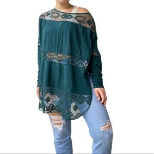 Free People Lace Emerald Oversized Long Sleeve Top